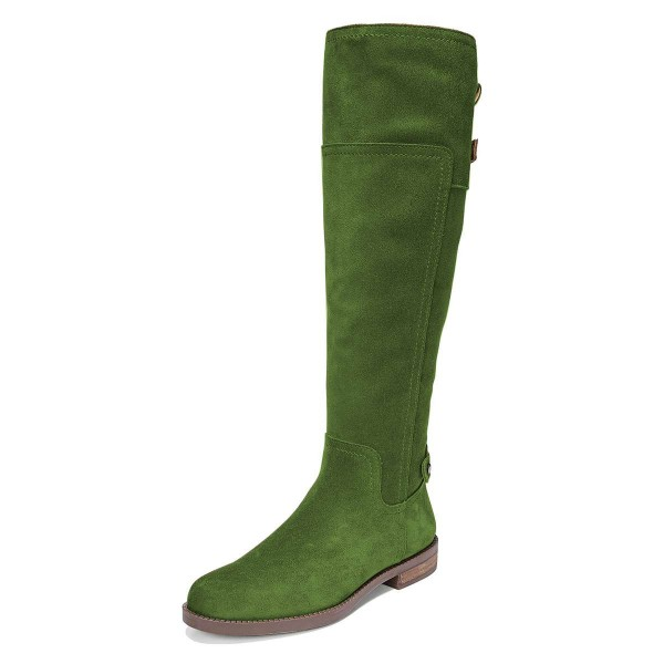 Green Suede Flat Knee Boots Knee High Boots image 1