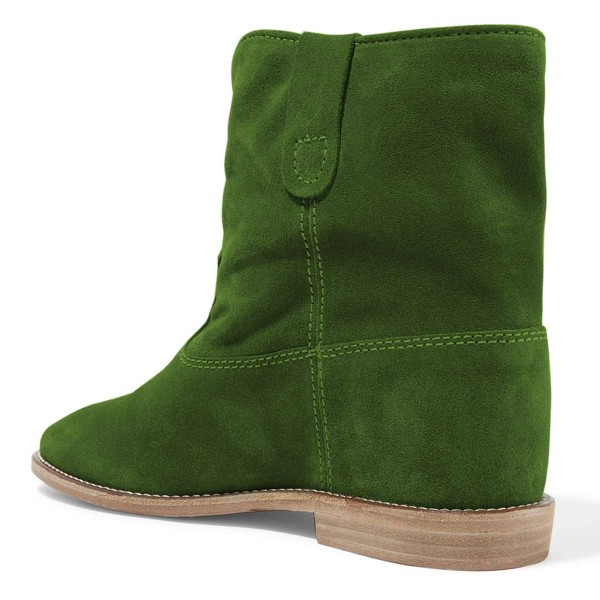 Green Suede Boots Winter Flat Short Boots image 4
