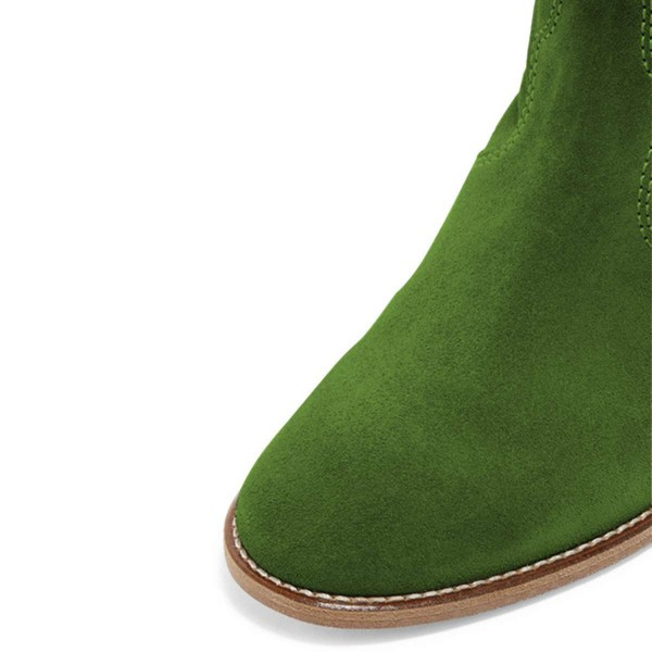 Green Suede Boots Winter Flat Short Boots image 2