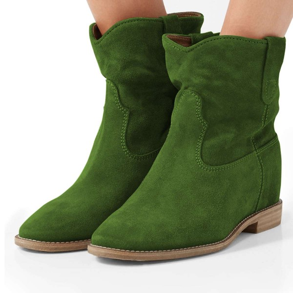 Green Suede Boots Winter Flat Short Boots image 1