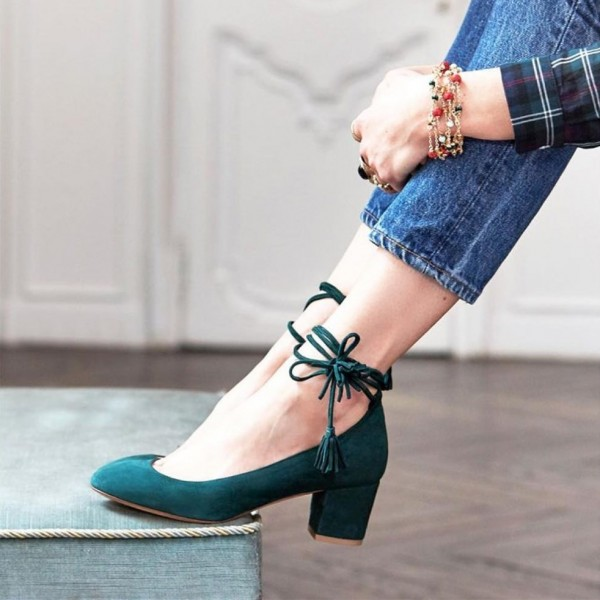 Green Suede Lace Up Round Toe Chunky Heels Pumps for Office Ladies image 1