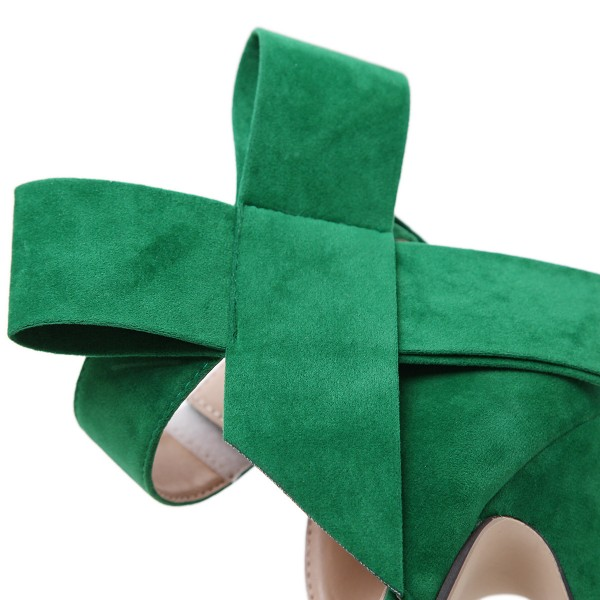 Green Platform Sandals Peep Toe Ankle Strap High Heels Shoes image 4