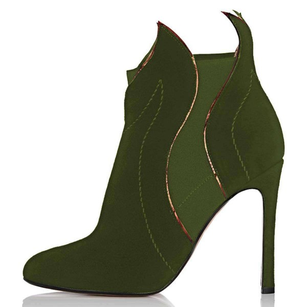 Green Suede Stiletto Heel Fashion Ankle Booties image 2