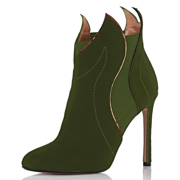 Green Suede Stiletto Heel Fashion Ankle Booties image 1