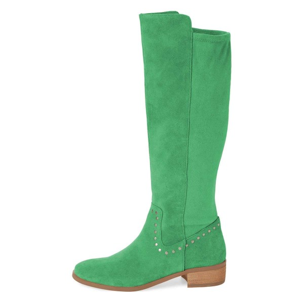 Green Suede Studs Knee Boots Knee-high Boots image 4