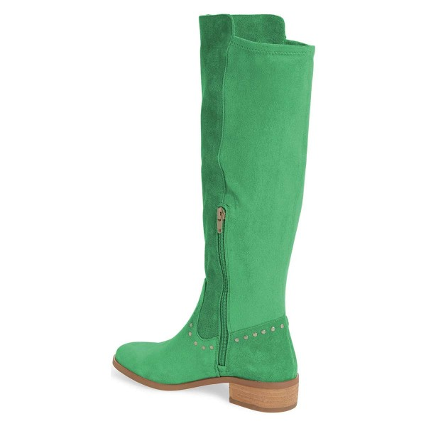 Green Suede Studs Knee Boots Knee-high Boots image 3