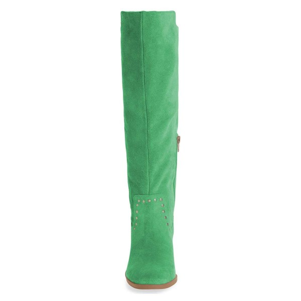 Green Suede Studs Knee Boots Knee-high Boots image 2