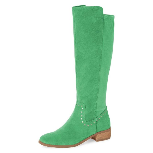 Green Suede Studs Knee Boots Knee-high Boots image 1