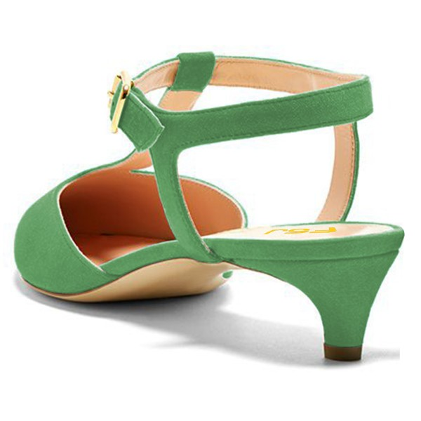 Green T Strap Heels Pointy Toe Slingback Kitten Heel Pumps image 3