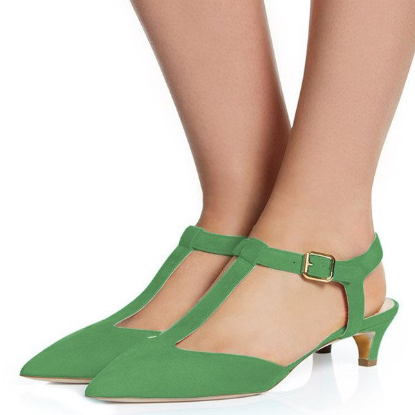 Green T Strap Heels Pointy Toe Slingback Kitten Heel Pumps image 2