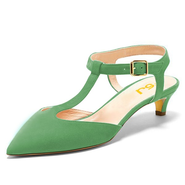 Green T Strap Heels Pointy Toe Slingback Kitten Heel Pumps image 1
