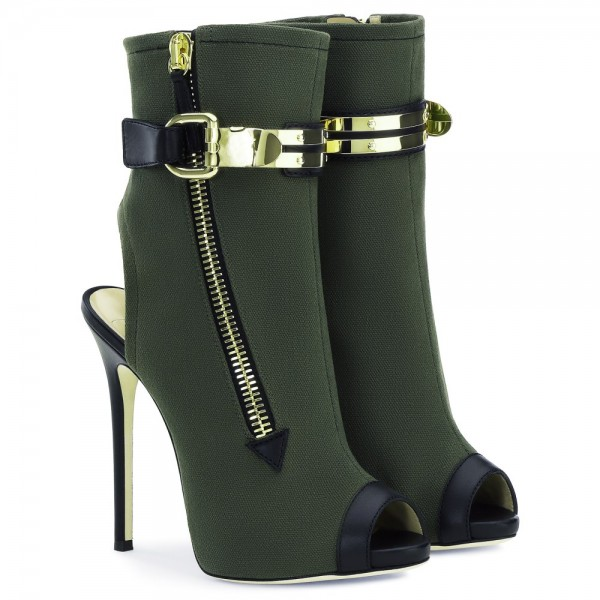 Dark Green Slingback Shoes Peep Toe Suede Stiletto Boots Ankle Booties image 4