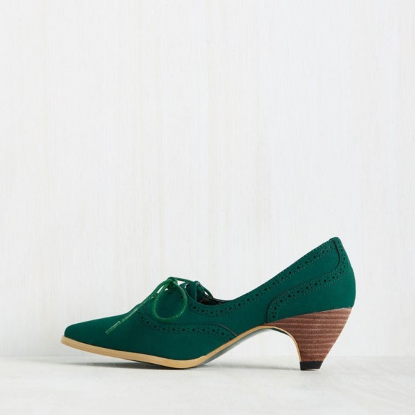 Green Lace Up Heels Pointy Toe Vintage Shoes Cone Heel Pumps image 4