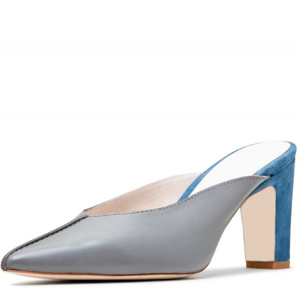 Grey and Blue Block Heels Two Tone Pointy Toe Mules image 1