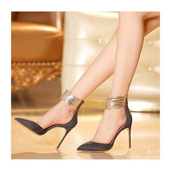Dark Grey Closed Toe Sandals Gold Ankle Strap Stiletto Heel Shoes image 2