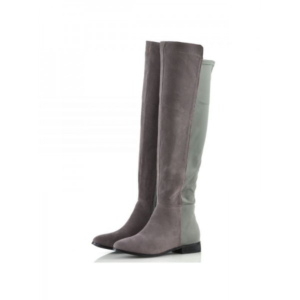 Grey and Green Contrast long Boots Round Toe Flat Knee-high Boots image 1