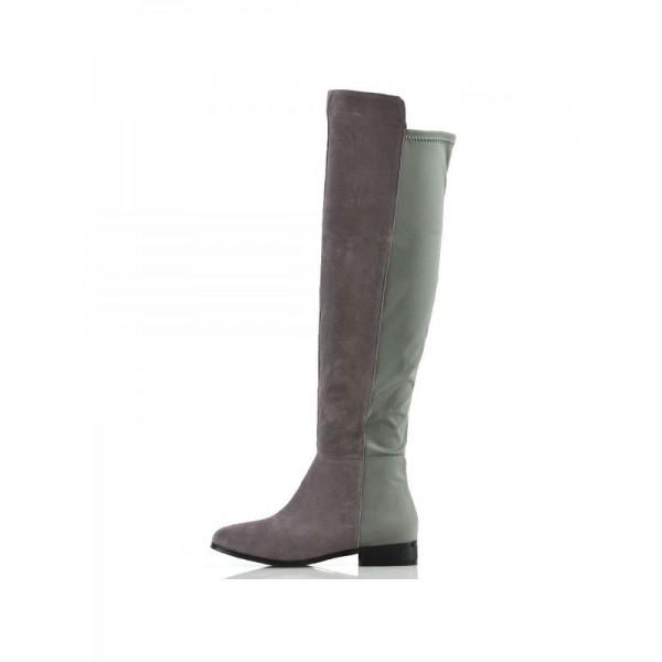Grey and Green Contrast long Boots Round Toe Flat Knee-high Boots image 2