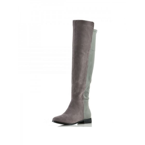 Grey and Green Contrast long Boots Round Toe Flat Knee-high Boots image 3