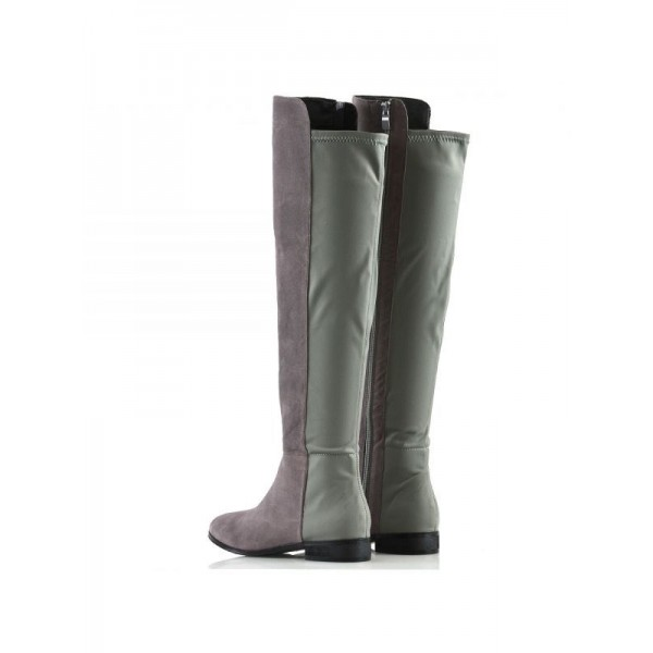 Grey and Green Contrast long Boots Round Toe Flat Knee-high Boots image 4