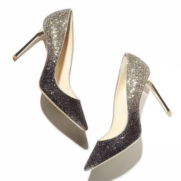 Grey and Silver Gradient Color Stiletto Heels Pointy Toe Glitter Pumps image 1