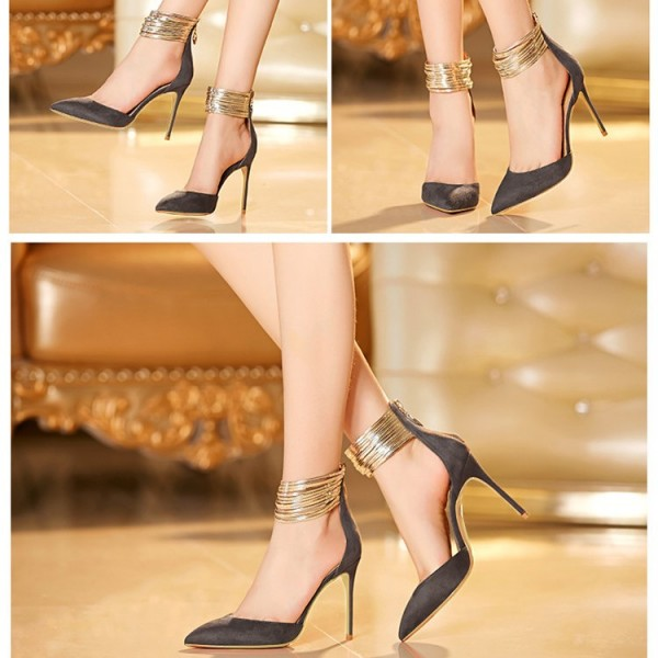 Dark Grey Closed Toe Sandals Gold Ankle Strap Stiletto Heel Shoes image 3