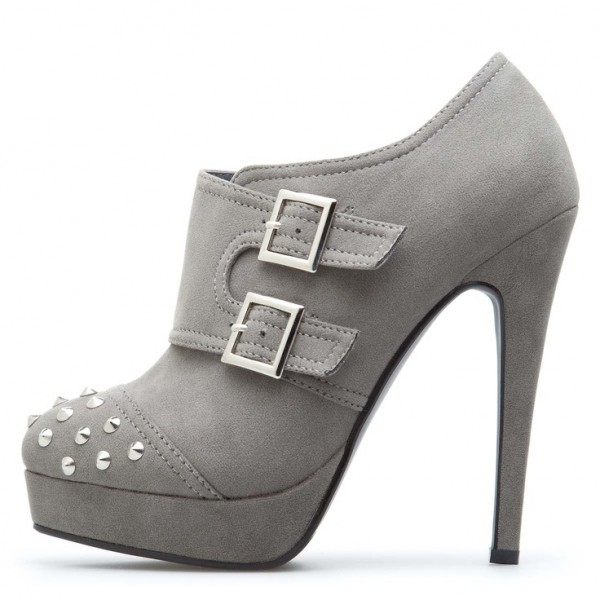 Grey Buckles Ankle Booties Rivets Platform Stiletto Boots image 1