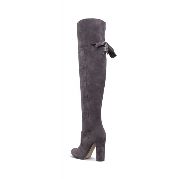 24cabd29702 Grey Chunky Heel Boots Over-the-knee Boots
