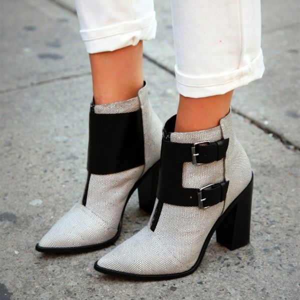 Grey Chunky Heels Ankle Booties Pointy Toe Buckles Boots with Zipper image 1