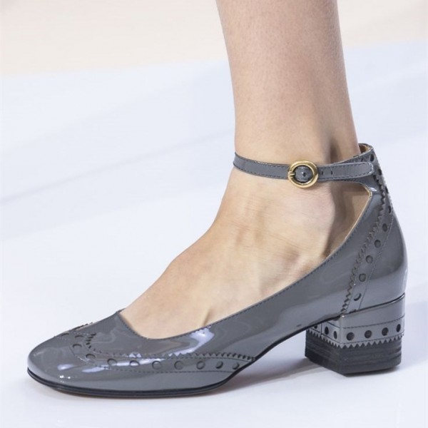 Grey Cute Ankle Strap Heels Patent Leather Chunky Heels Vintage Shoes image 1