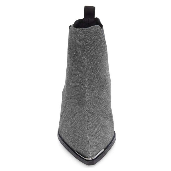 Grey Denim Chelsea Boots Pointy Toe Slip-on Chunky Heel Ankle Boots image 2