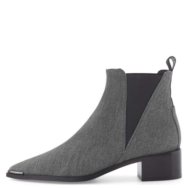 Grey Denim Chelsea Boots Pointy Toe Slip-on Chunky Heel Ankle Boots image 3