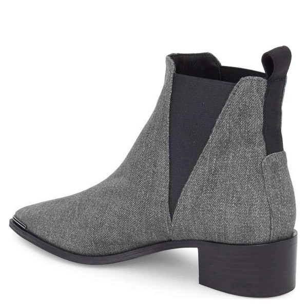 Grey Denim Chelsea Boots Pointy Toe Slip-on Chunky Heel Ankle Boots image 4