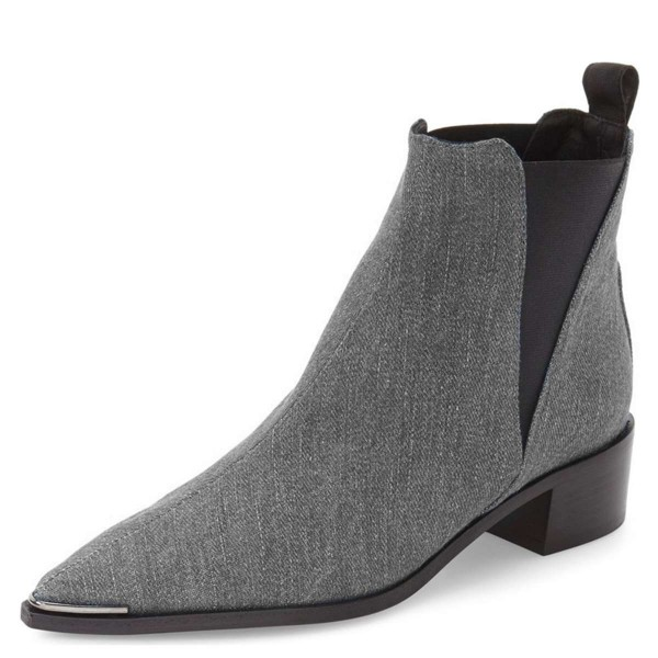 Grey Denim Chelsea Boots Pointy Toe Slip-on Chunky Heel Ankle Boots image 1