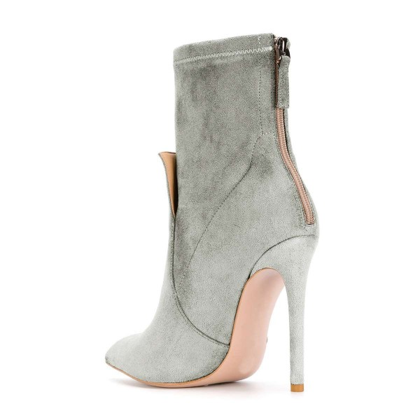 Grey Fashion Zip Stiletto Boots Pointy Toe Suede Ankle Boots By FSJ image 3