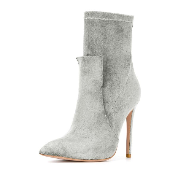 Grey Fashion Zip Stiletto Boots Pointy Toe Suede Ankle Boots By FSJ image 1