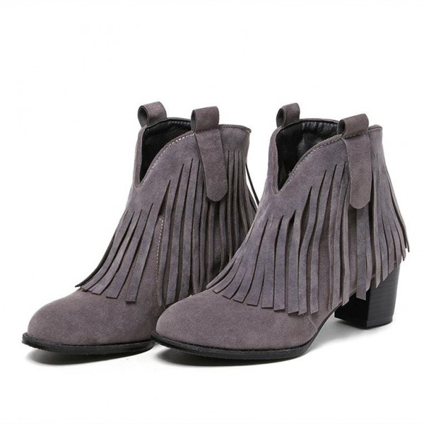 Grey Fringe Boots Round Toe Chunky Heel Suede Ankle Boots image 3