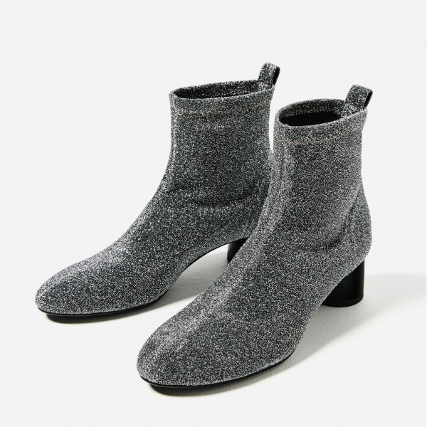 Women's Grey Fashion Boots  Chunky Heel Boots Office Heels Ankle Boots image 1