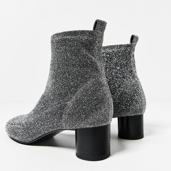 Women's Grey Fashion Boots  Chunky Heel Boots Office Heels Ankle Boots image 3