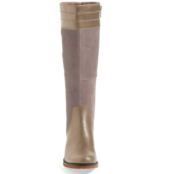 Grey Riding Boots Side Zipper Round Toe Low Heel Knee Boots image 2