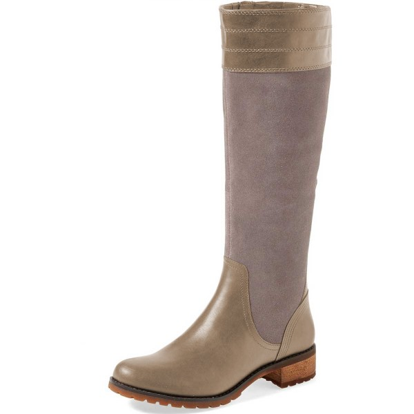 Grey Riding Boots Side Zipper Round Toe Low Heel Knee Boots image 1