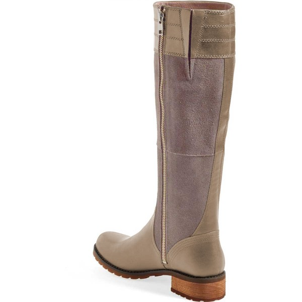 Grey Riding Boots Side Zipper Round Toe Low Heel Knee Boots image 3