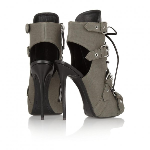 Grey Lace up Boots Peep Toe Slingback Ankle Booties with Buckles image 2