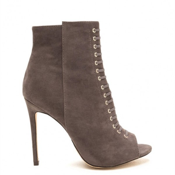 Taupe Boots Front Laced Stiletto Heel Suede Peep Toe Ankle Booties image 3
