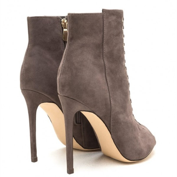 Taupe Boots Front Laced Stiletto Heel Suede Peep Toe Ankle Booties image 2