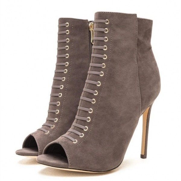 e33268e160ba Taupe Boots Front Laced Stiletto Heel Suede Peep Toe Ankle Booties image 1  ...