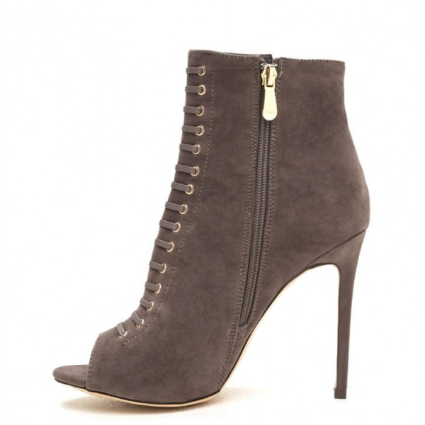 Taupe Boots Front Laced Stiletto Heel Suede Peep Toe Ankle Booties image 5