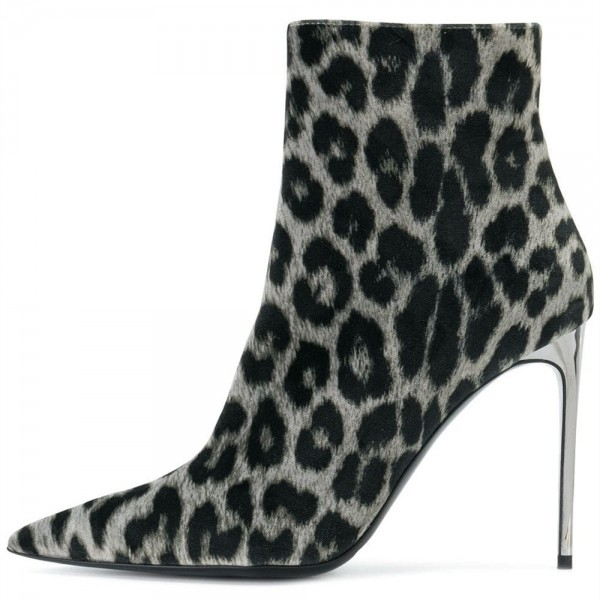 Grey Leopard Print Boots Stiletto Heel Ankle Boots image 3