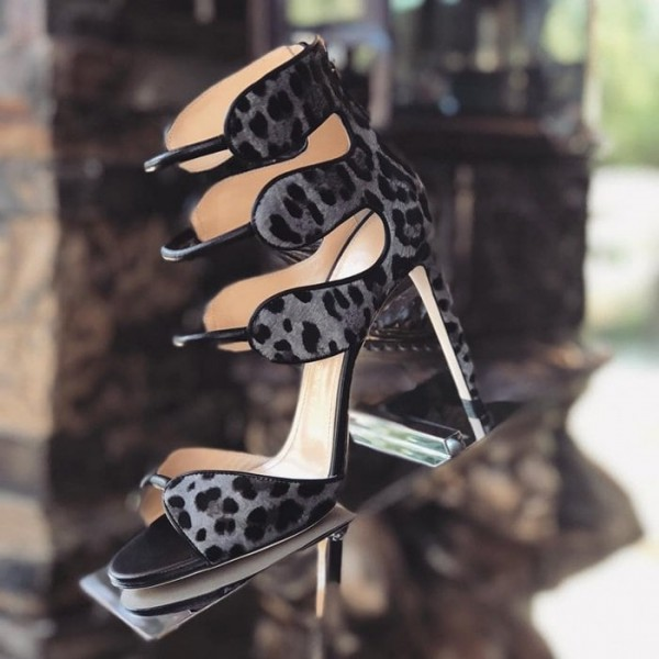 Grey Leopard Print Heels Open Toe  Sexy Ankle Strap Sandals    image 1