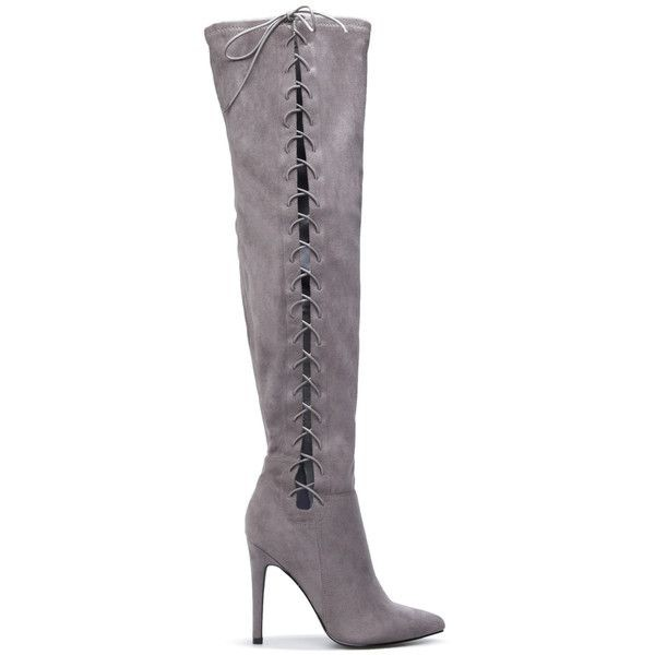 Grey Long Boots Suede Side Thigh High Lace Up Boots image 2