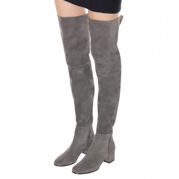 Grey Low Heel Suede Boots Fashion Thigh